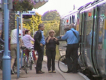 Passengers at Saxmundham station