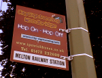 Open top bus stop at Melton railway station