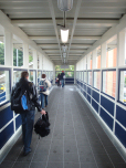 Passengers using the new footbridge at Ipswich