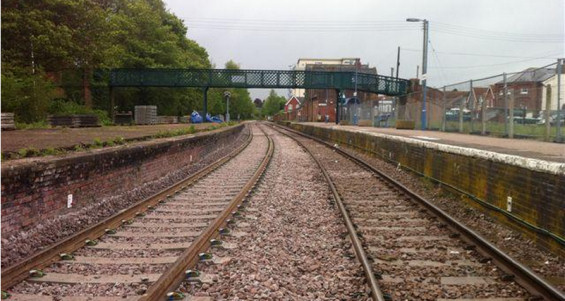 Beccles station showing the newly installed passing loop (left)
