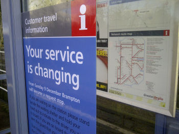Poster at Brampton detailing the change to a request-stop station