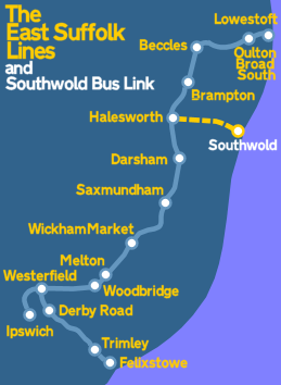 East Suffolk Lines route map showing the new Southwold bus link