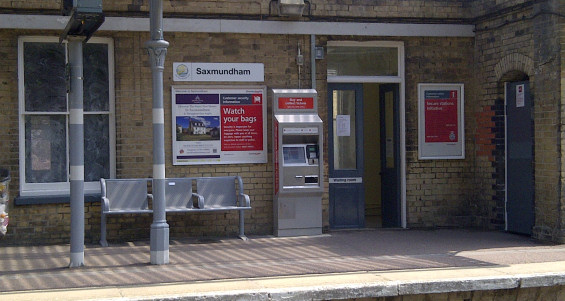 Looking toward the waiting room at Saxmundham station.