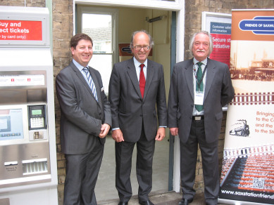 Greater Anglia Area Customer Service Manager James Steward, Suffolk County Councillor Michael Gower, and the Chairman of the Friends David Adams.