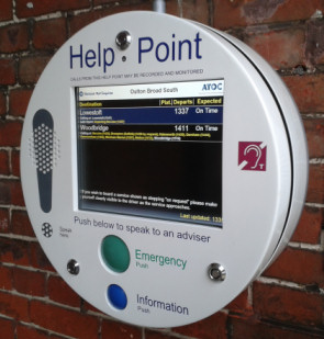 The new combination Help Point and Realtime Information Screen at Oulton Broad South