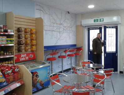The Station Shop owner Henry Nimmo at the entrance to the platform