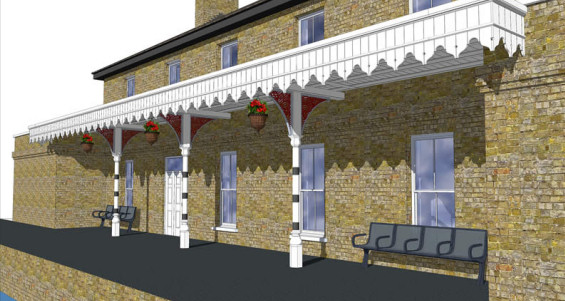 Conceptual drawing of the Station House at Wickham Market rail station (at Campsea Ashe)
