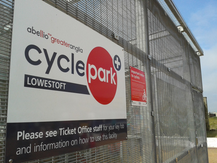 Lowestoft Station cycle park