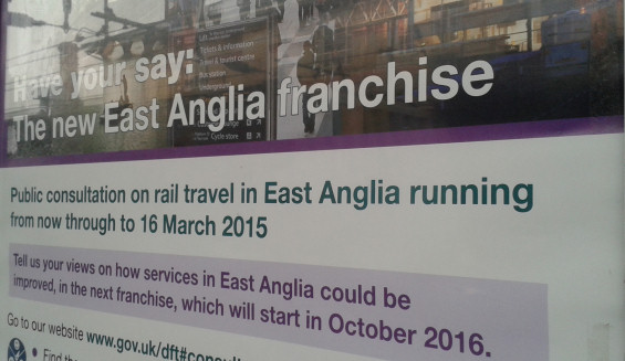 A poster at Ipswich Station displays details of the East Anglia Rail Passenger Franchise Consultation