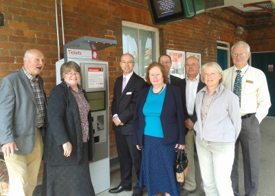 Official opening of the ticket machine at Halesworth station
