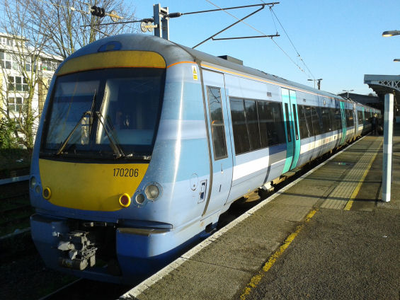 A Class 170 train headed for Lowestoft at Ipswich station 23 December 2015