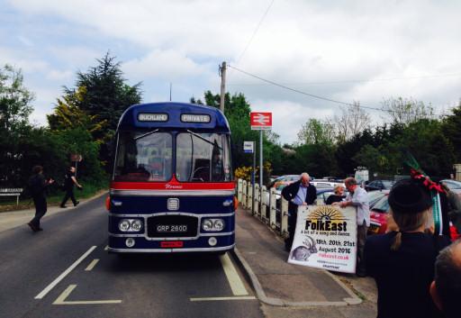 The FolkEast rail-link bus at Wickham Market Station