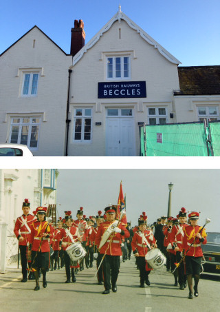 Beccles Station (above) and members from the Southwold and Reydon Corps of Drums (below)