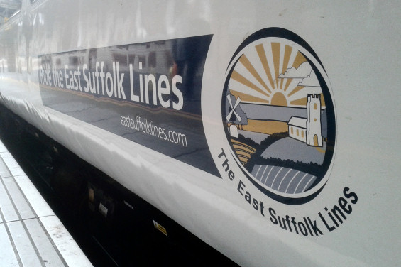 The East Suffolk Lines branded train at Ipswich