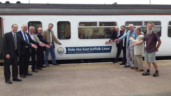 The East Suffolk Lines branded train at Lowestoft