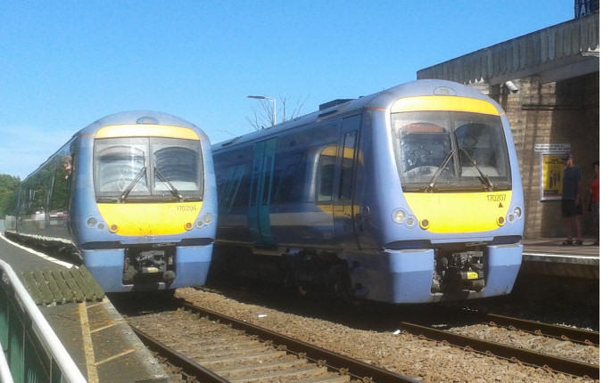 Class 170 trains at Saxmundham station