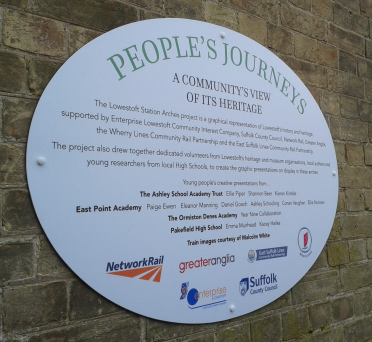 The plaque which explains the Arches project at Lowestoft Station 28 January 2017