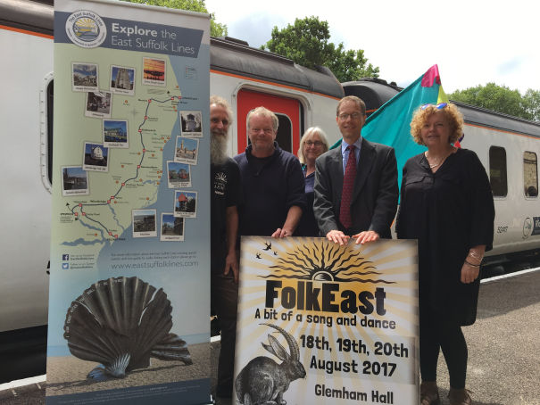 Members of FolkEast and the East Suffolk Lines Community Rail Partnership at Wickham Market station