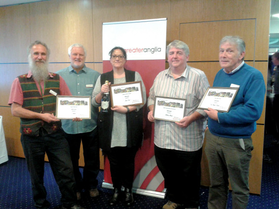 Graham Elliott (Beccles), Steve Mitchell (Wickham Market), Jacqui Dale (Lowestoft) and Bob Webb (Wickham Market) at Greater Anglia's 2017 Station Adopter Awards