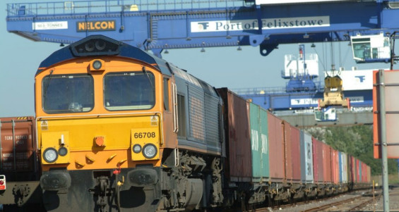 Freight Train Heading from the Port of Felixstowe - photo courtesy Network Rail