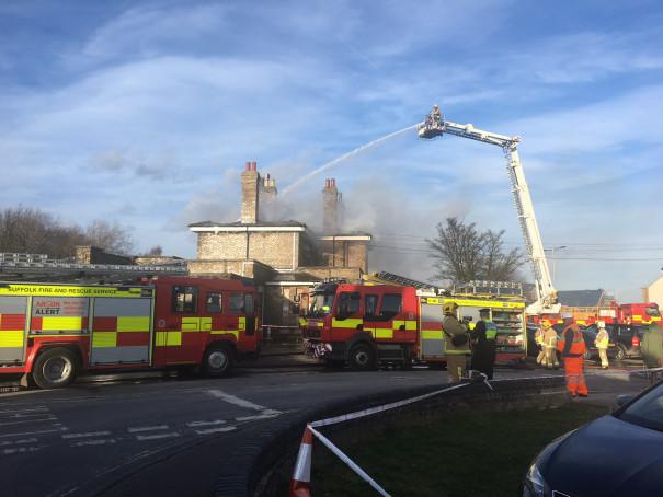 Fire at Saxmundham station 12 February 2018