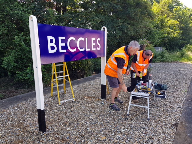 Beccles station running in board