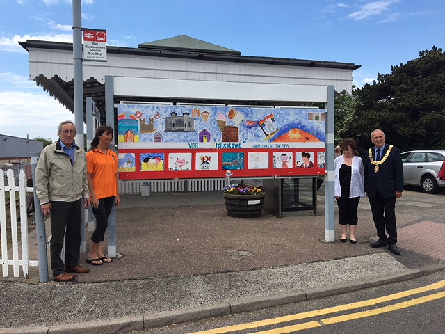 Mayor of Felixstowe, Cllr Graham Newman and station adopter Richard Holland unveil a new mural produced by students from the Felixstowe Level Two Youth Project