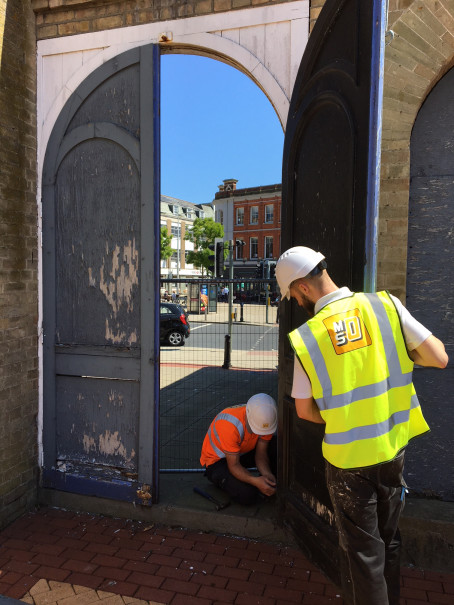 Lowestoft station door being removed