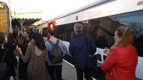 passengers alight at Woodbridge station