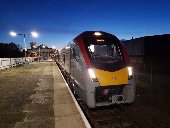 The first new bi-mode train in passenger service on the Felixstowe Line departs Felixstowe 6:28 19 November 2019