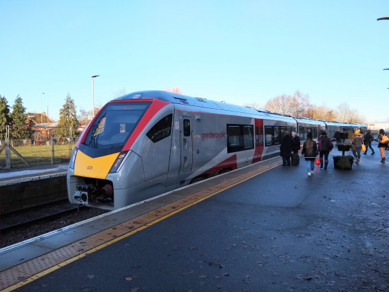 A new bi-mode train at Beccles Monday morning 2 December 2019