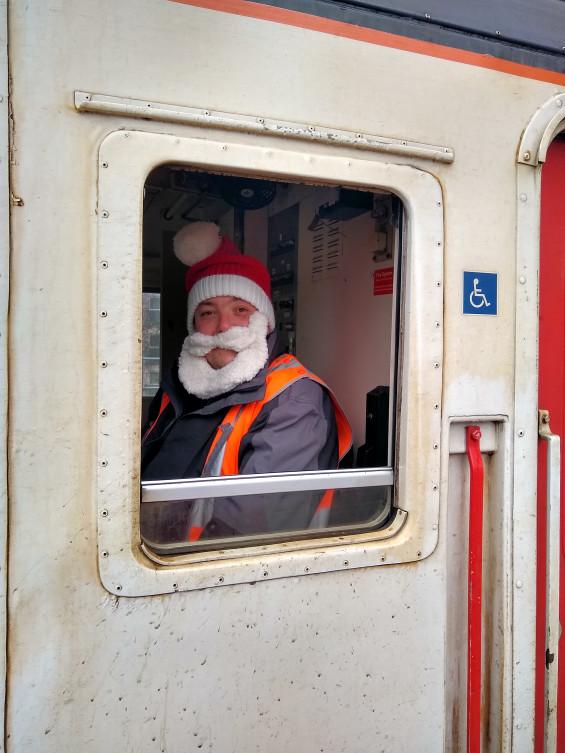 Santa Claus is driving the train!