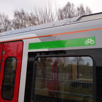 Green cycle stripe on new trains