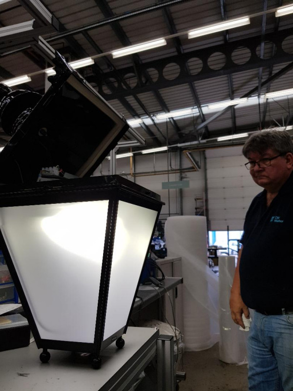 The new lights are tested before being sent to Lowestoft