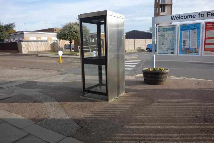 Felixstowe station phone box and flower tubs