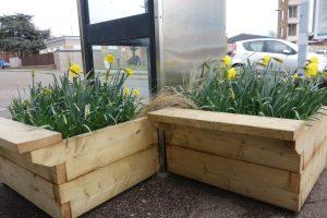 Felixstowe station bench planters
