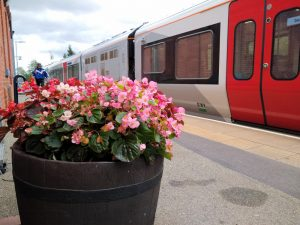 Flower tubs at Derby Road Station 26 August 2020