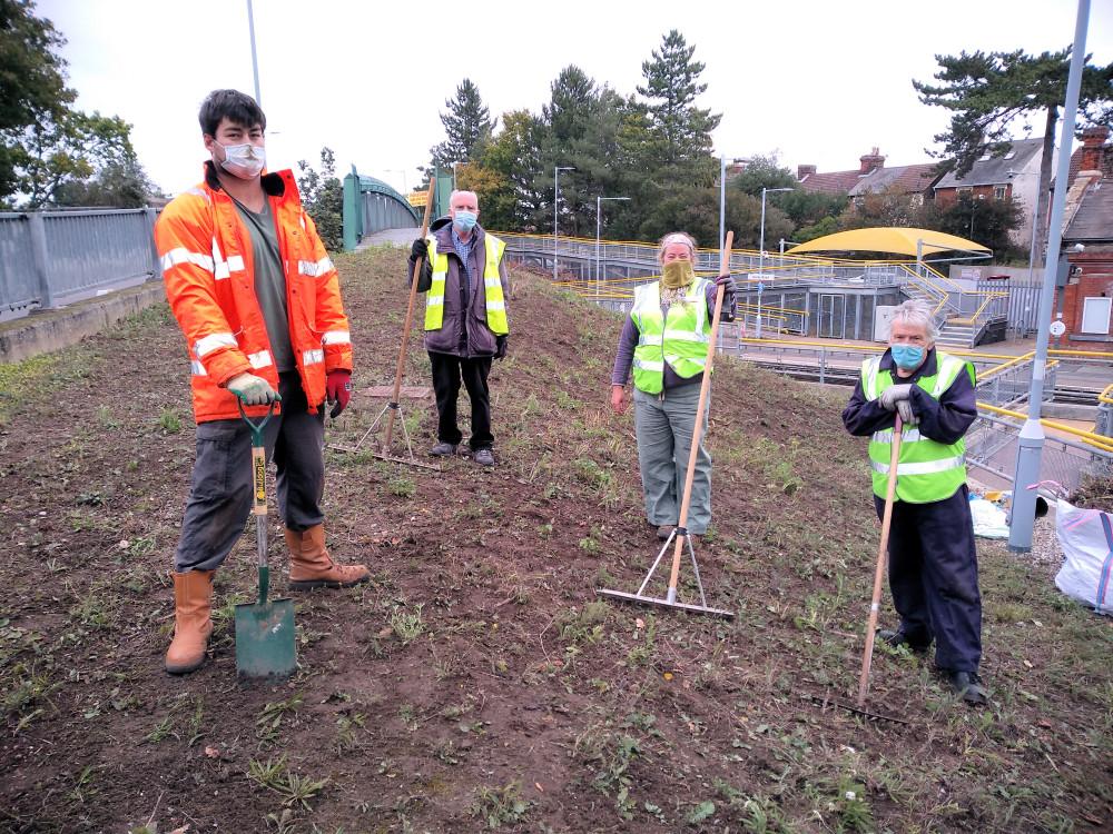 Volunteers prepare to sow wildflower seeds at Derby Road station