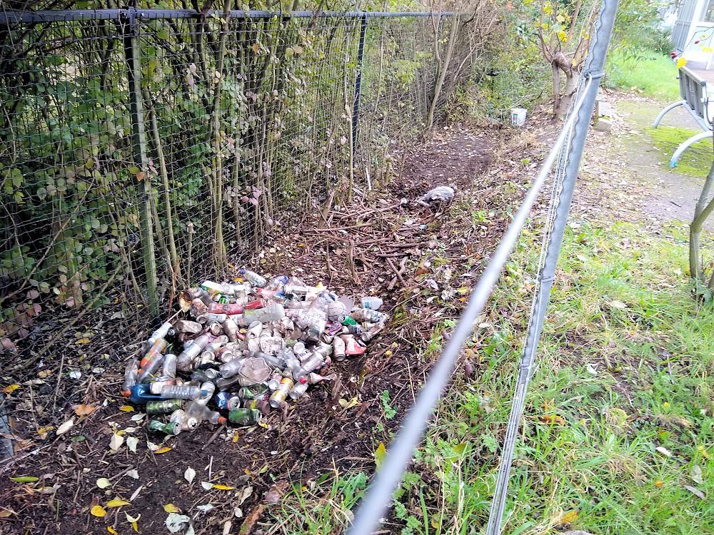 Bottles along the Ipswich-bound platform at Derby Road Station 30 October 2020