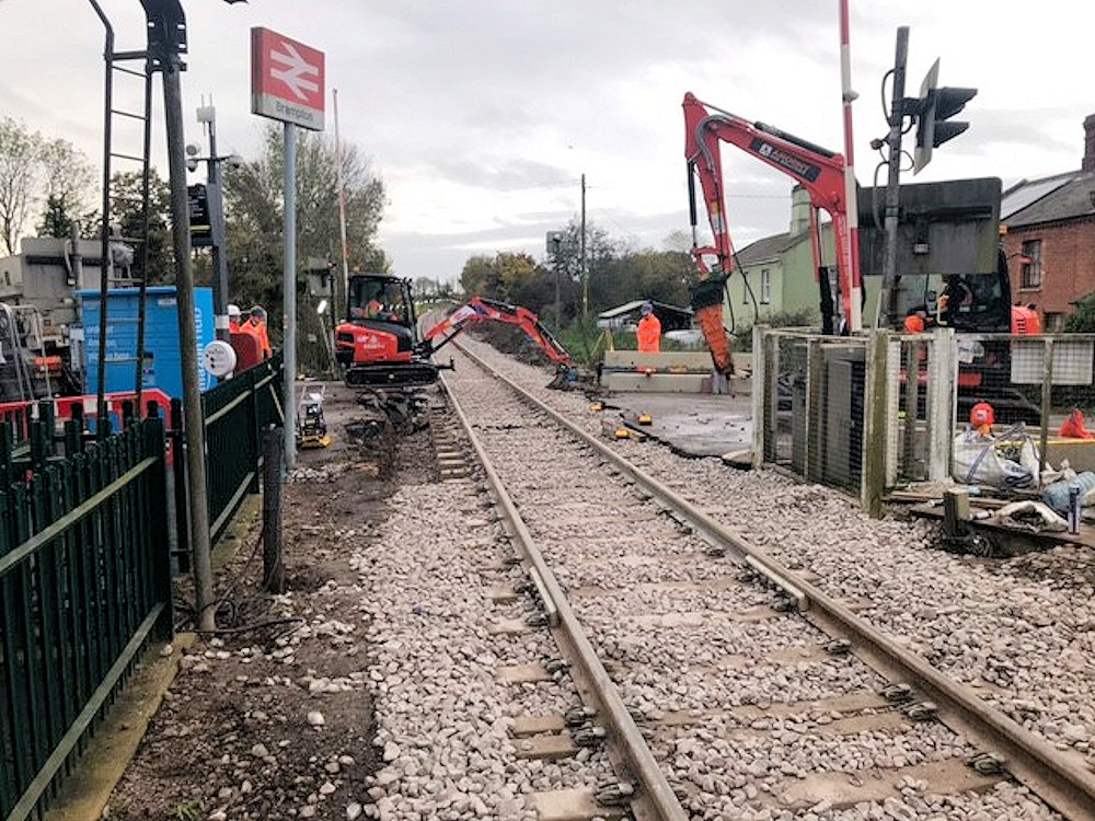 Track replacement at Brampton Station October 2020