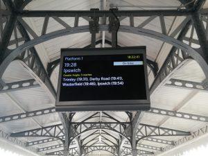 Felixstowe station information screen