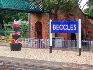 Beccles replica sign and flowers 20 August 2021